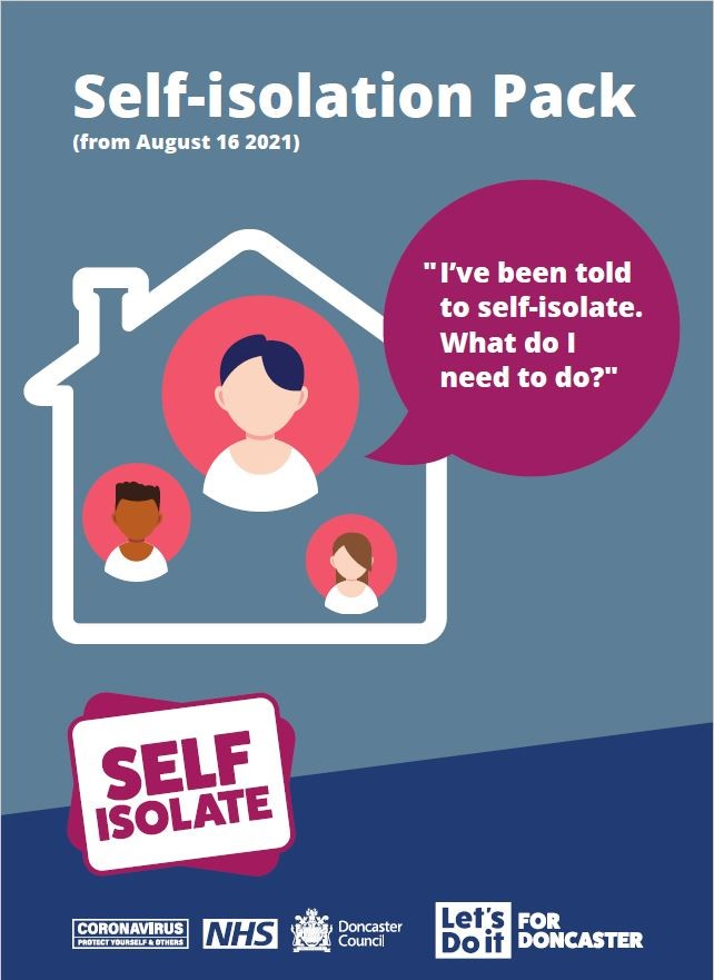 Self-isolation Pack from 16 Aug front cover of brochure