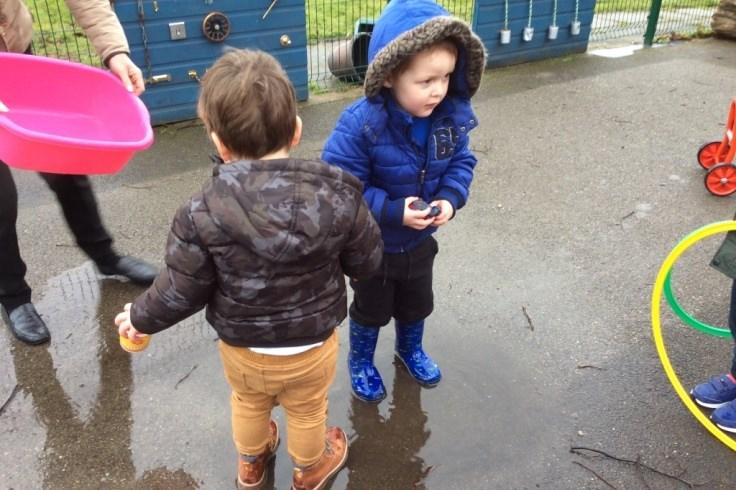 Preschool children enjoying outdoor play