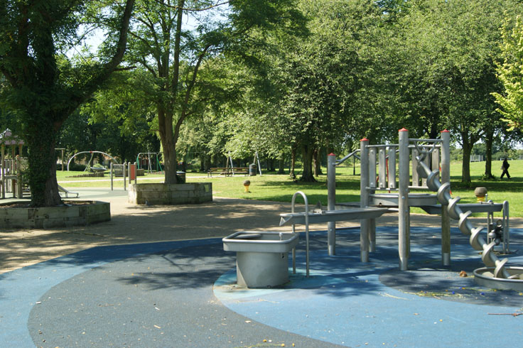 A water play area in a park.