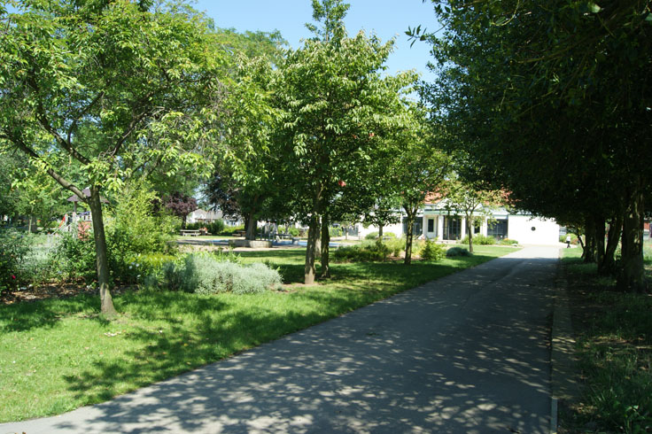 A pavement in a park, with trees either side and a pavilion in the background.