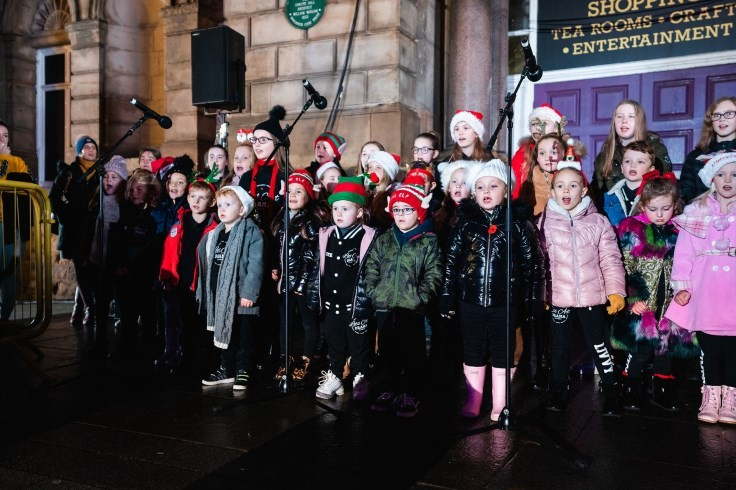 Children singing at the Countdown to Christmas event