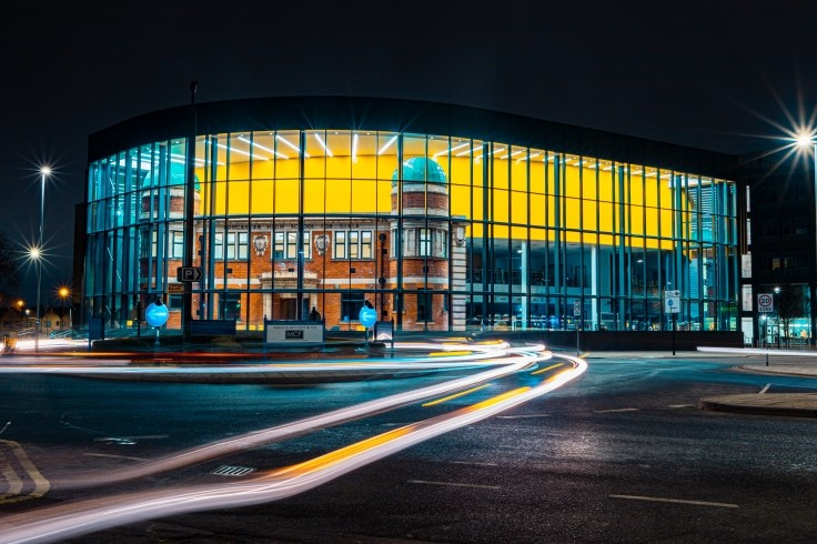 Danum Gallery, Library and Museum (DGLAM) lit up at night web