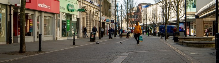 Doncaster Town Centre maintaining social distancing