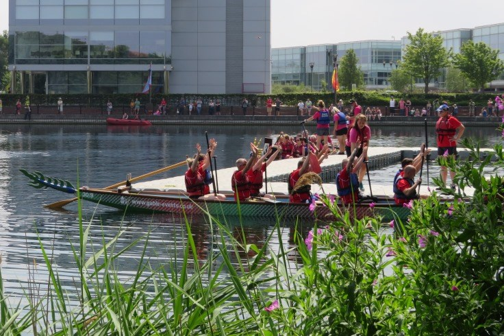 Getting ready for dragon boat racing at Lakeside