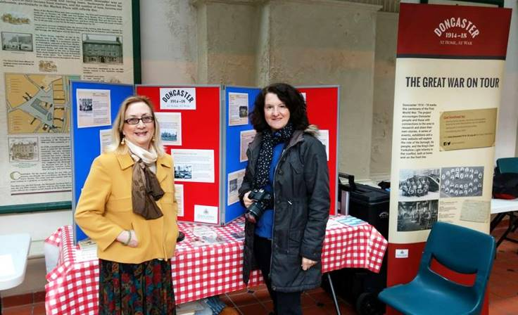 Doncaster 1914-18 volunteers Ruth and Carol at a Great War on Tour stand