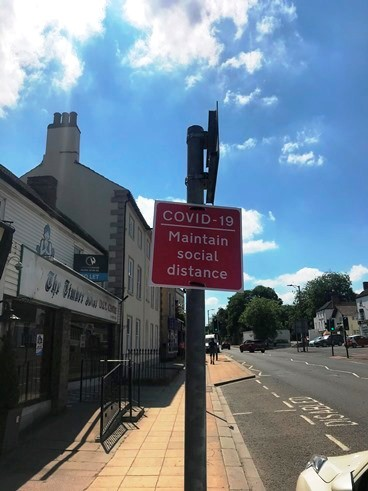 Bawtry Main Street COVID 19 social distance signs