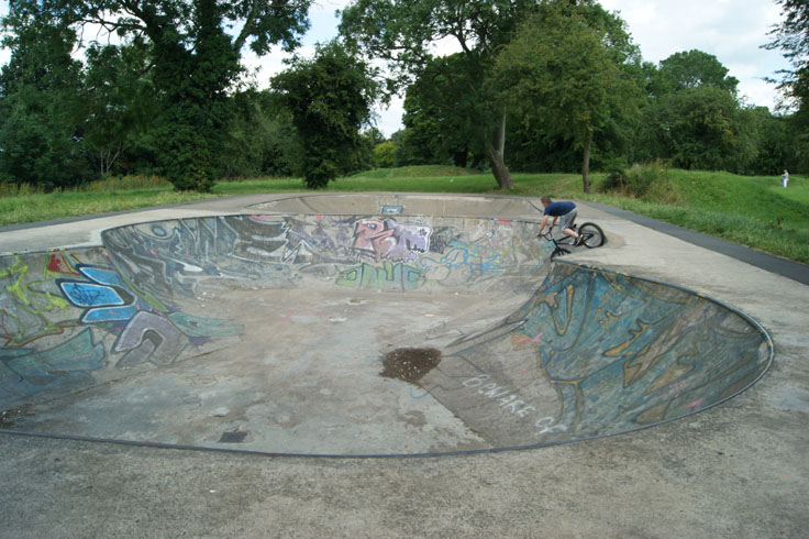 A child riding on a bike down a skate park ramp.