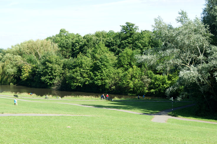 People doing various activities at a park, including fishing and flying a kite.