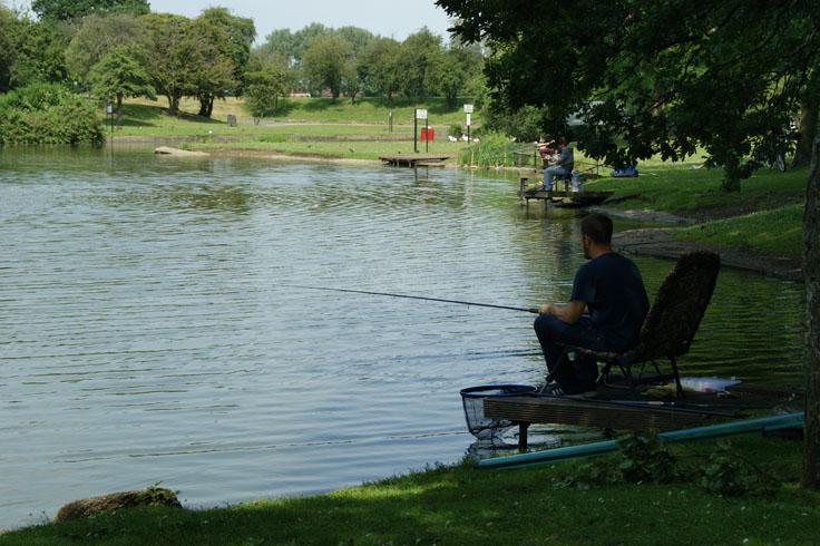 People fishing in a lake.