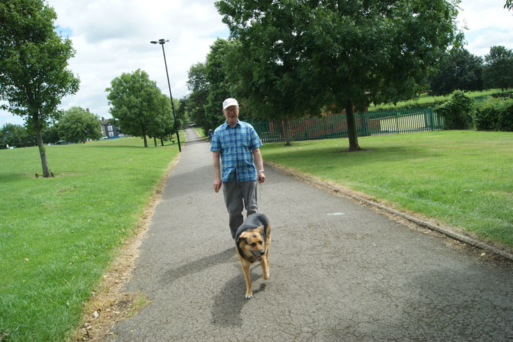 A man walking his dog through a park.