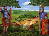 Roman soldiers by a settlement and farmland