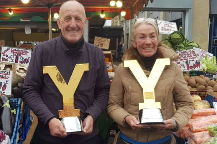Fruit and Veg Stall Holders with the TDY trophy