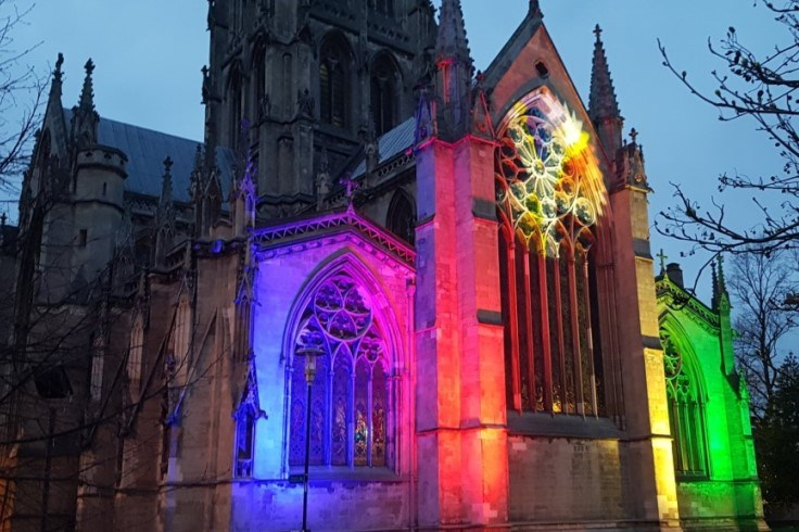 The Minster lit up in a rainbow of colours to mark six months to go until the start of the UCI