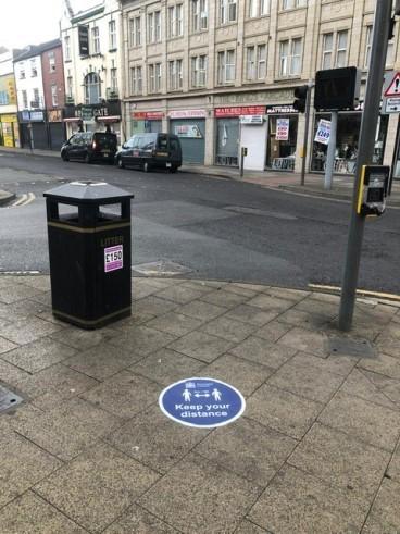 Duke Street junction floor splat message keep your distance