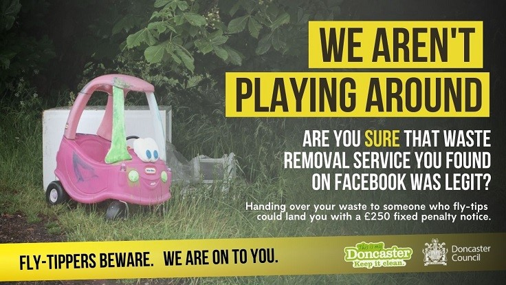 Fly-Tippers Beware Poster showing abandoned childrens toys