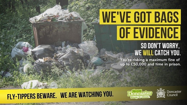 Fly-Tippers Beware Poster showing abandoned household waste