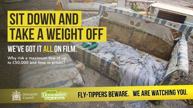 Fly-Tippers Beware Poster showing abandoned sofa