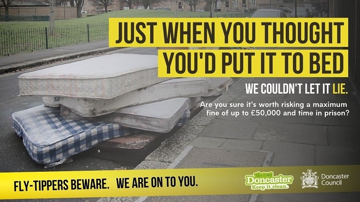 Fly-Tippers Beware Poster showing abandoned Mattress