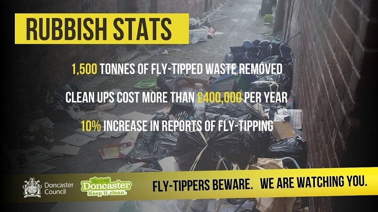 Fly-Tippers Beware Poster showing abandoned household waste in an alley with fly-tipping statistics