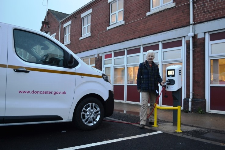 Mayor Ros Jones with the council's electric fleet web