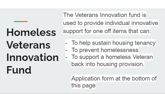 Homeless veterans Innovation Fund to provide individual innovative support