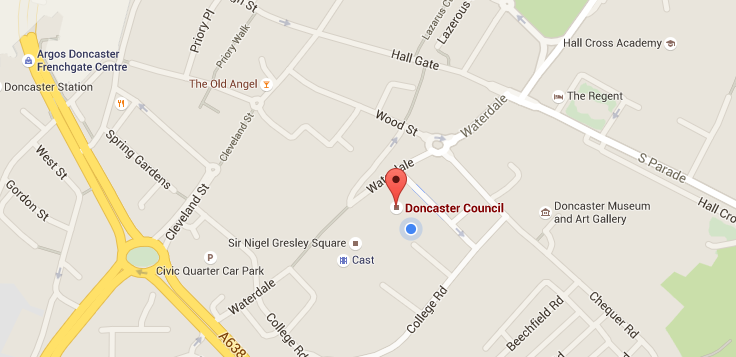 Map of where the Civic Office is based in Waterdale, Doncaster