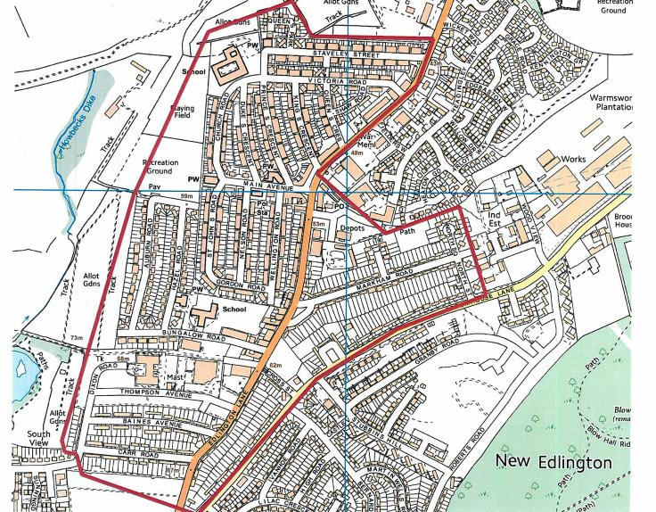 A map of the designated selective licensed area in Edlington.