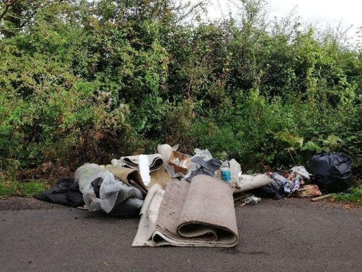 Pile of rubbish at road side at Burghwallis