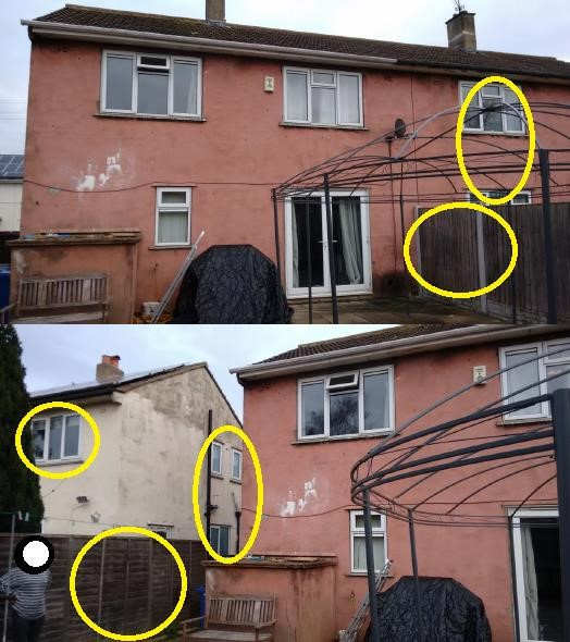 Rear of a property including photos of the rear of the neighbours' properties either side to show windows and any boundary treatments