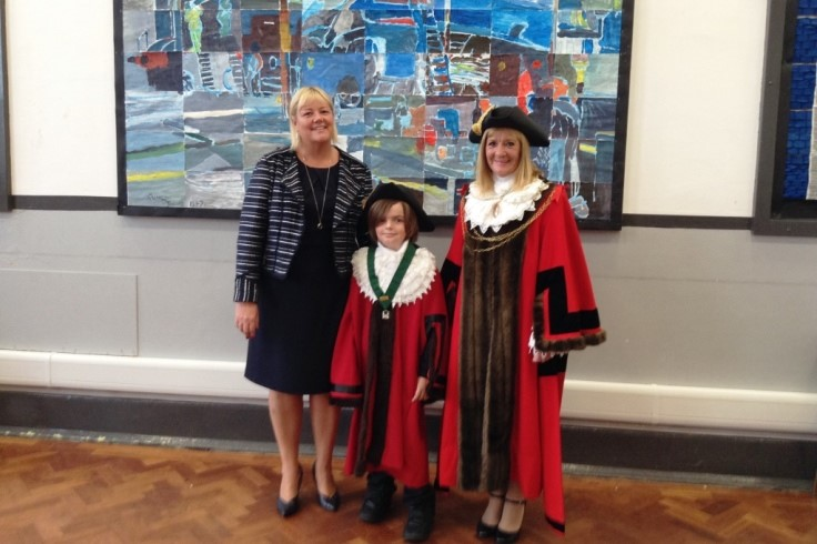 Junior Civic Mayor Alfie Turton with the Civic Mayor Linda Curran and Headteacher for Woodfield Primary