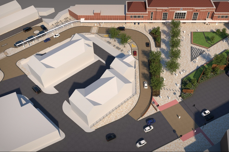 Aerial image of Doncaster train station forecourt redevelopment