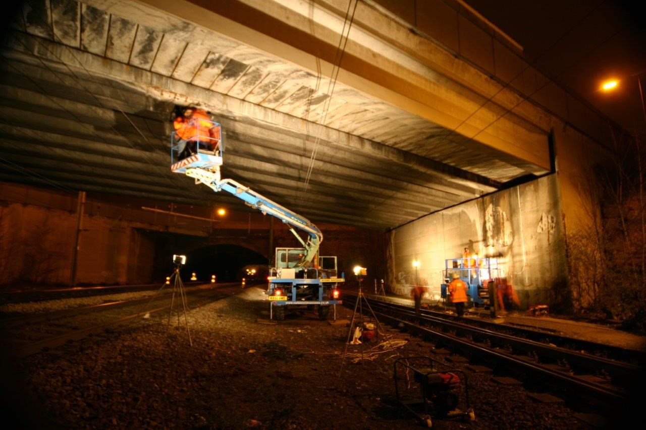 Working at night on a teleporter underneath a bridge in Balby.