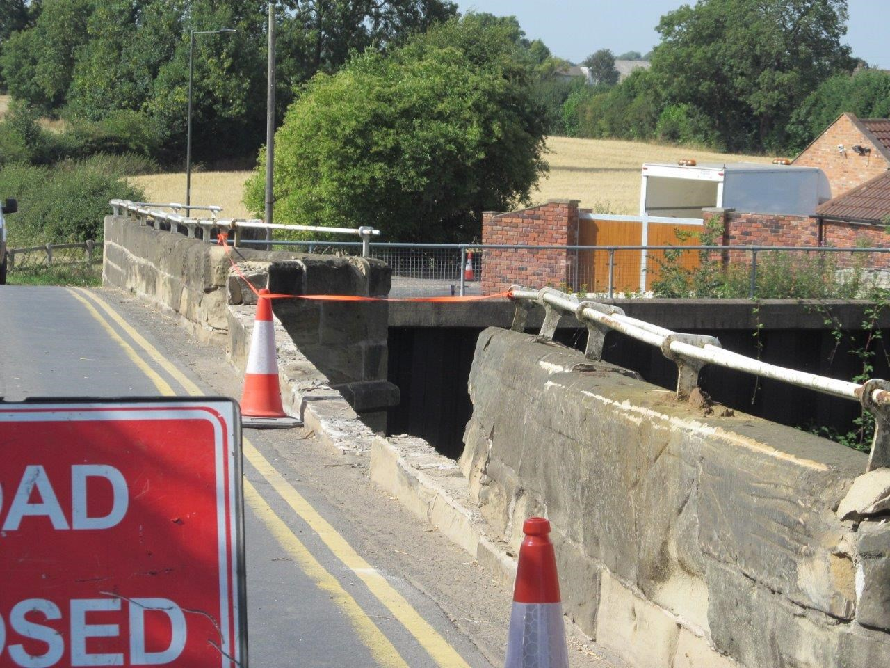 Damage to the side of Stainforth road bridge