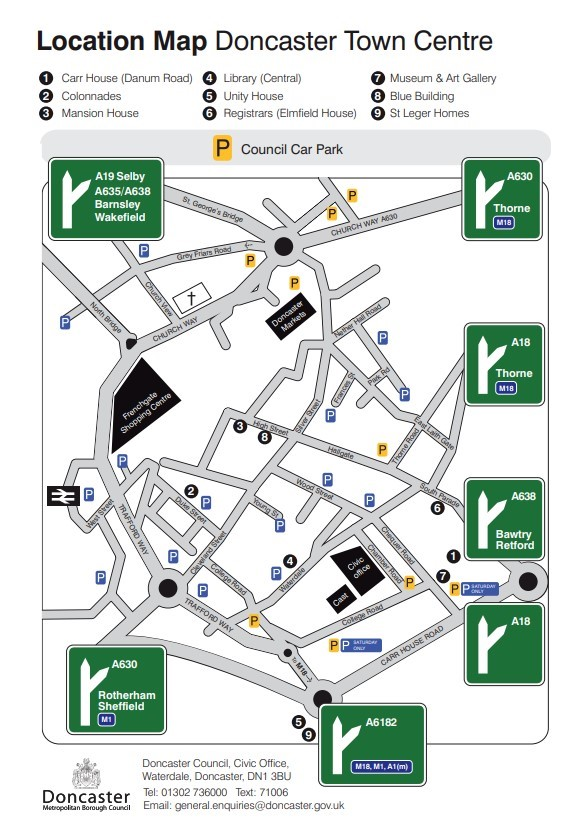 Map showing car park locations in Doncaster