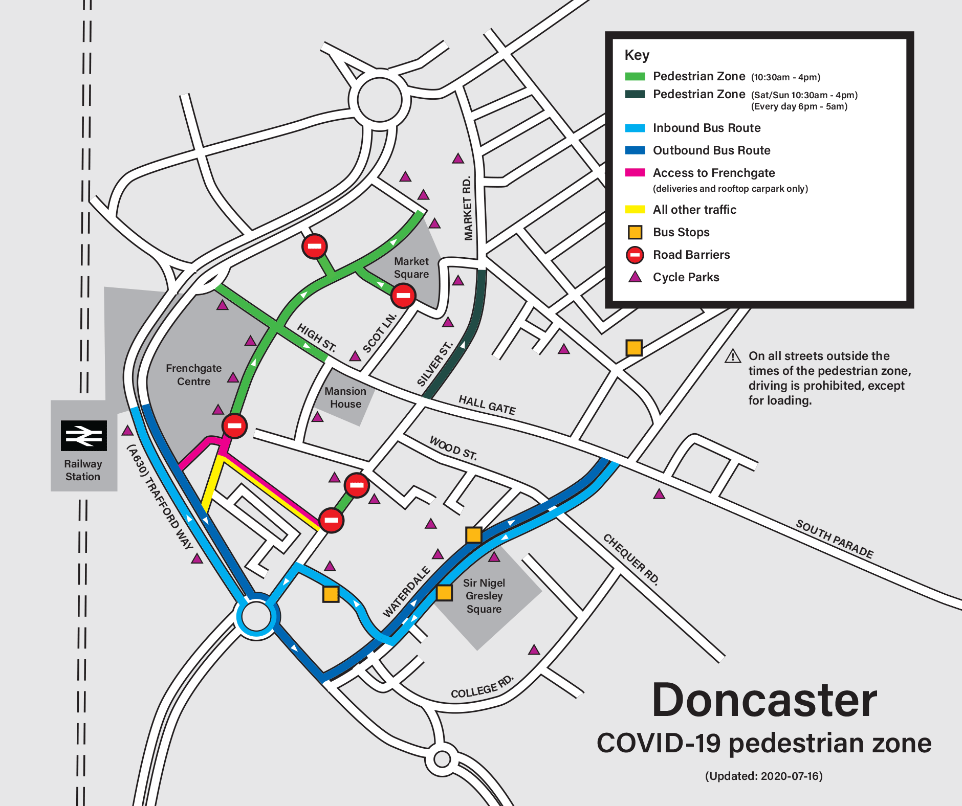 Map showing traffic restrictions and the town centre pedestrian zone