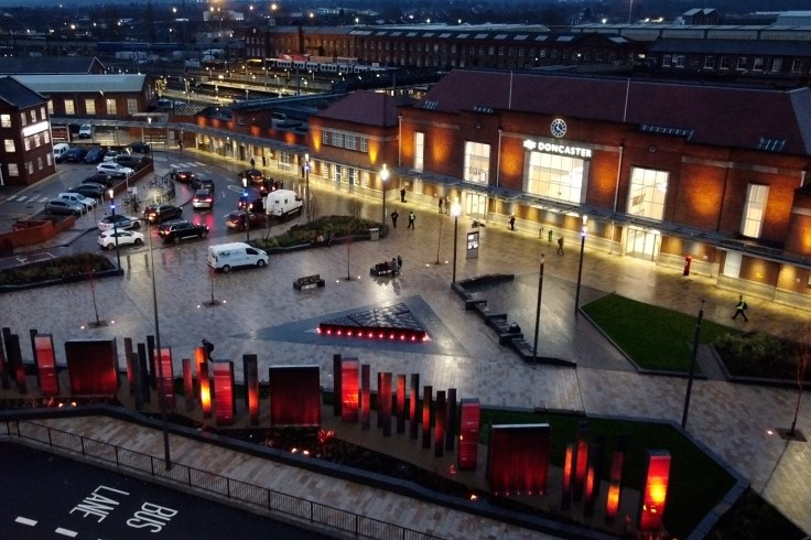 Doncaster railway station forecourt in the evening web