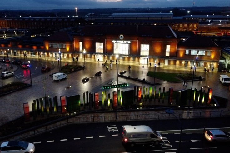 Doncaster railway station forecourt scheme in the evening web