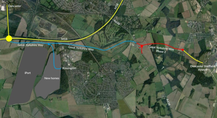Map showing Great Yorkshire Way connecting Doncaster Sheffield Airport to the M18 motorway at Junction 3
