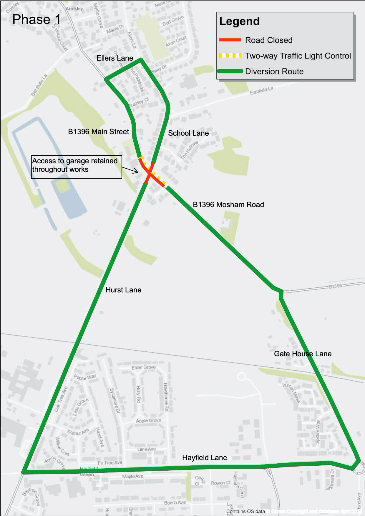 Road closure and Diversion for Hurst Lane and Mosham Road junction.