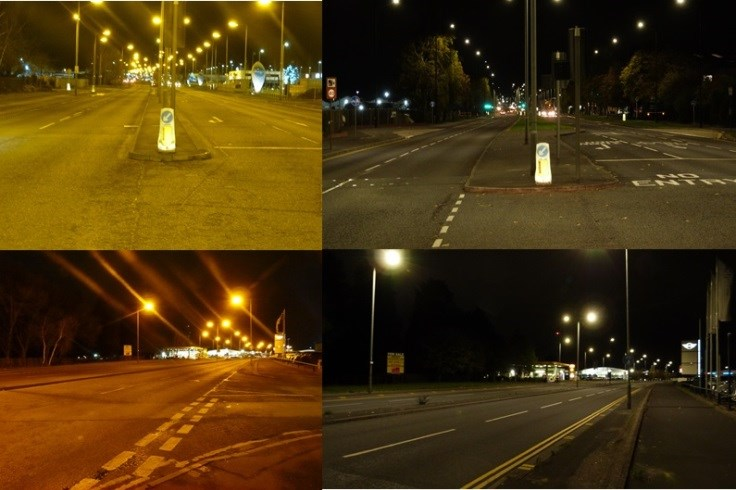 Before and after shots of new led lamps as part of the Smartlight programme