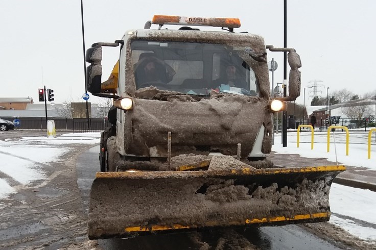 Snow plough at work