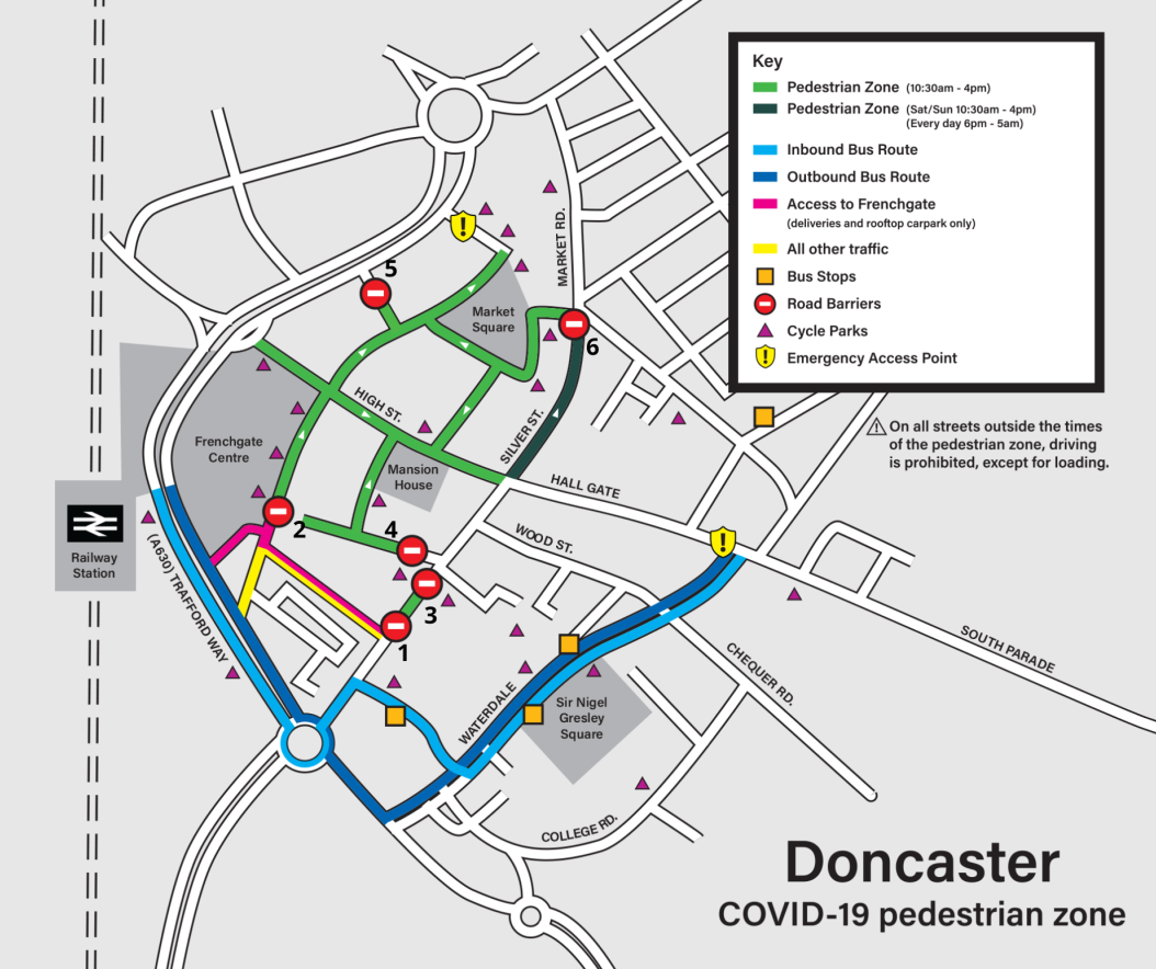 Town Centre Map indicating revised parking arrangements following road barriers now in place